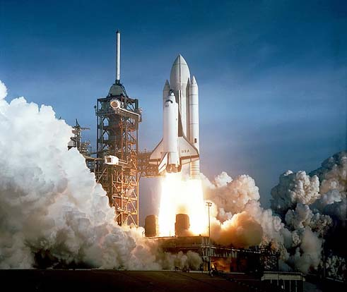The Space Shuttle Columbia seconds after engine ignition