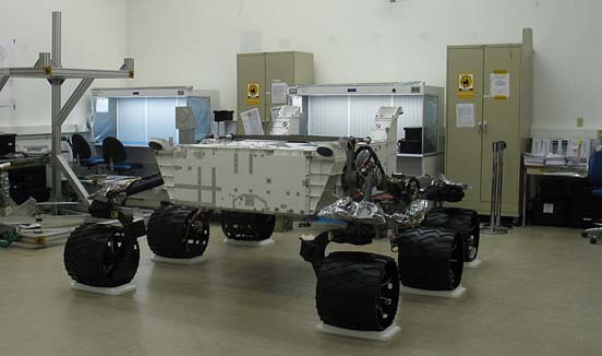 The MSL after a successful test of the suspension system by the Jet Propulsion Laboratory on August 20, 2008