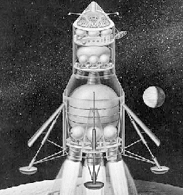 Early Apollo configuration for Direct Ascent and Earth Orbit Rendezvous - 1961 (NASA)