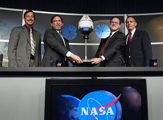 NASA Constellation officials announcing the selected Orion contractor Aug. 31, 2006, at NASA Headquarters