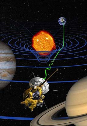 High-precision test of general relativity by the Cassini space probe (artist's impression)