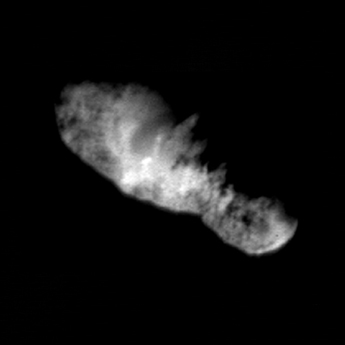 Comet 19P/Borrelly imaged just 160 seconds before Deep Space 1's closest approach.