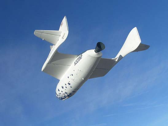 Spaceship One, the first privately funded and constructed spacecraft to fly above the 100 km Karman Line.