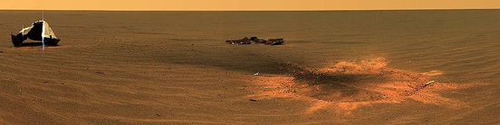 Opportunity rover's heat shield lying inverted on the surface of Mars.