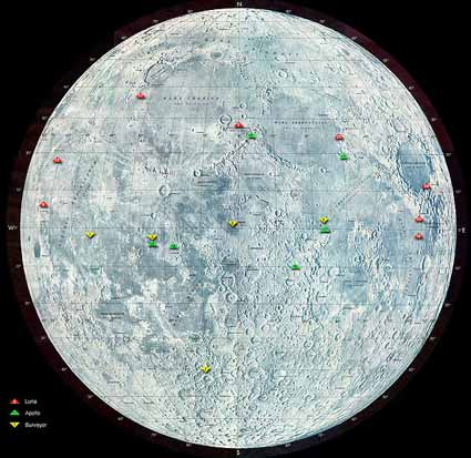 Map of the moon showing some landing sites. (Click to enlarge)