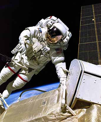 Jerry Ross during one of the first spacewalks that began assembly of the International Space Station