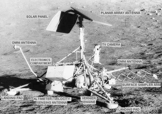 Photograph of Surveyor 3 lunar landing spacecraft taken by Apollo 12 astronauts (descriptions added). (NASA)
