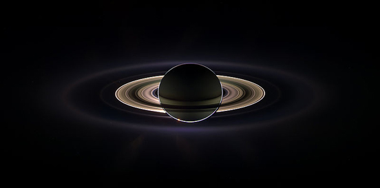An eclipse of Saturn with the rings visible, taken in 2006