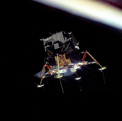 The Eagle in lunar orbit immediately after separating from Columbia