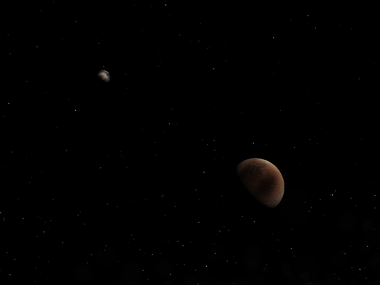 Computer-generated view from the spacecraft during flyby of Pluto (right) showing its moon, Charon (left).