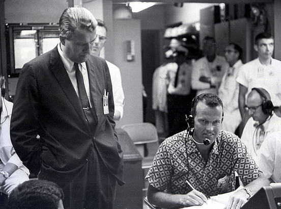 Wernher von Braun and astronaut Gordon Cooper in the blockhouse during MR-3 recovery operations May 5, 1961.