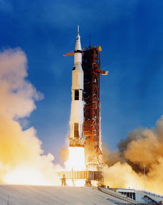 The Saturn V rocket launched Apollo 11 and her crew on its journey to the Moon, July 16, 1969.