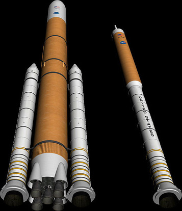 Two planned configurations for a return to the Moon, heavy lift (left) and crew (right)