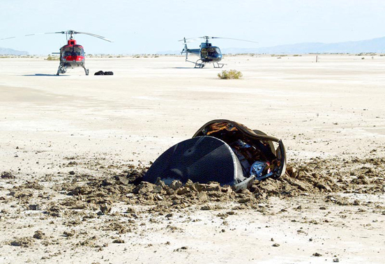The sample return capsule crashed into the Utah desert floor, breaking open the capsule. The capsule is about 1.5 m (4.9 ft) in diameter and has a mass of 275 kg (600 lb)