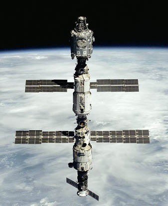 Progress M1-3 seen docked at the bottom of the Zvezda module of the ISS during STS-106.