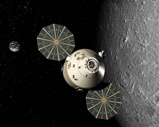 Rendered image of an Orion spacecraft in lunar orbit