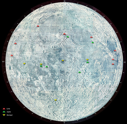 Green dots indicate locations of Apollo missions on the moon
