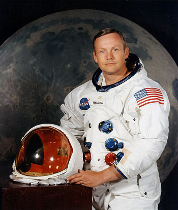 Neil Armstrong, first person to walk on the moon (1969).