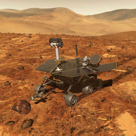 Computer-generated image of one of the two Mars Exploration Rovers which touched down on Mars in 2004.