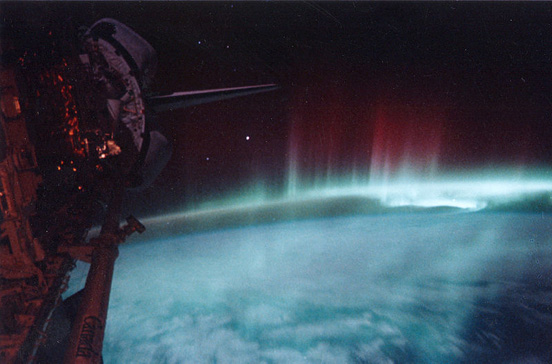 Aurora australis observed by Discovery, May 1991.