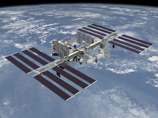 An artist's rendering of the fully assembled International Space Station, as it would appear from a spacecraft flying overhead