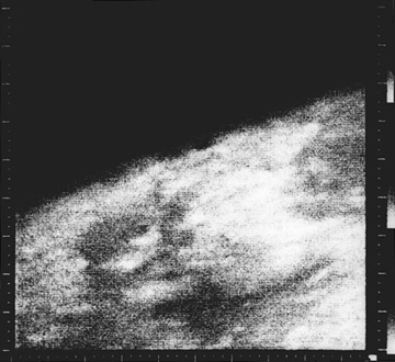 Taken from Mariner 4, the first close-up image ever taken of Mars shows an area about 330 km across by 1200 km from limb to bottom of frame.