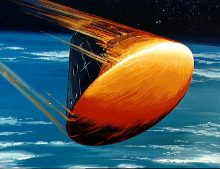 Apollo Command Module flying at a high angle of attack for lifting entry, artistic rendition.