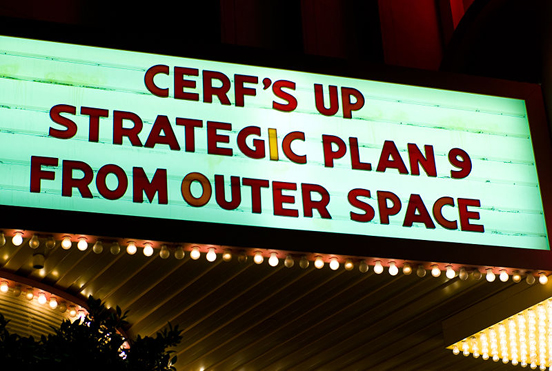 ICANN meeting, Los Angeles, USA, 2007. The marquee plays a humorous homage to the Ed Wood film Plan 9 from Outer Space.
