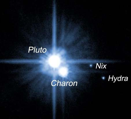 Pluto and its three known moons