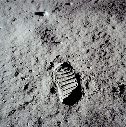 Buzz Aldrin bootprint. It was part of an experiment to test the properties of the lunar regolith.