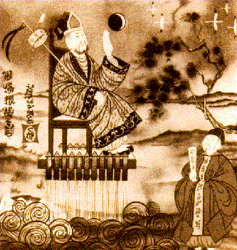 Illustration courtesy of Civil Air Patrol depicting the legend of Wan Hu, wearing a Song Dynasty official suit