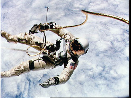 Edward White on a spacewalk during the Gemini 4 mission.