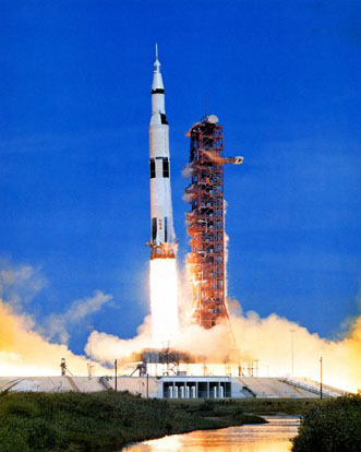A Saturn V launch vehicle sends Apollo 15 on its way to the moon.