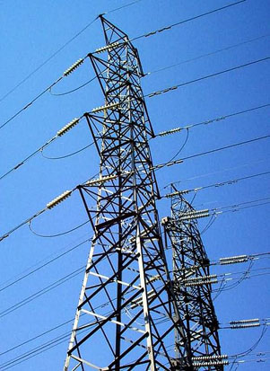 Electric Grid: Pilons and cables distribute power