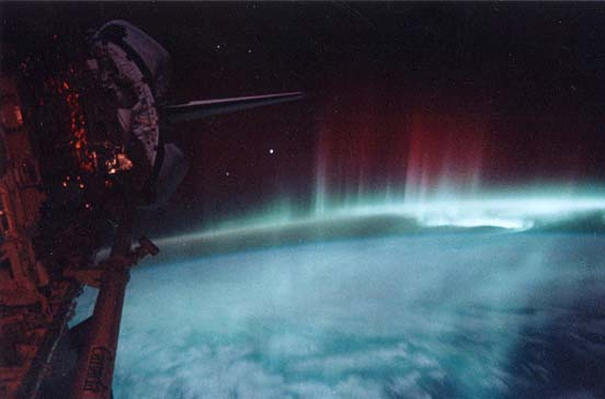 Aurora australis seen from orbit.