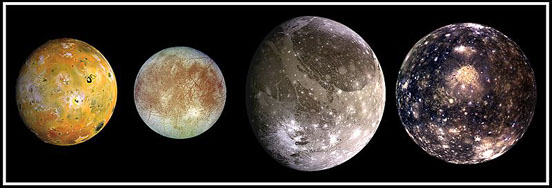 The four largest moons of Jupiter photographed by Galileo
