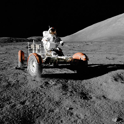 Eugene Cernan operating the Lunar rover during Apollo 17