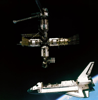 A view of the Space Shuttle Atlantis departing the Mir.