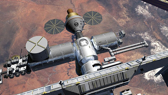 Artist's rendering of the Orion spacecraft docked to the International Space Station.