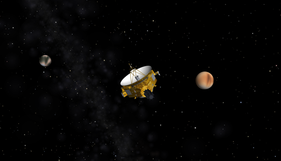 A Simulated view of New Horizons passing Pluto and Charon when it arrives in 2015.