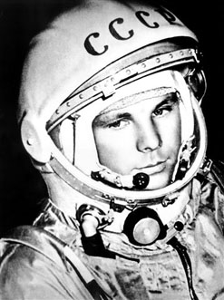 Yuri Gagarin, the first man in space, in his space suit during the Vostok 1 mission