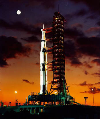 Saturn V on the launch pad before the launch of Apollo 4