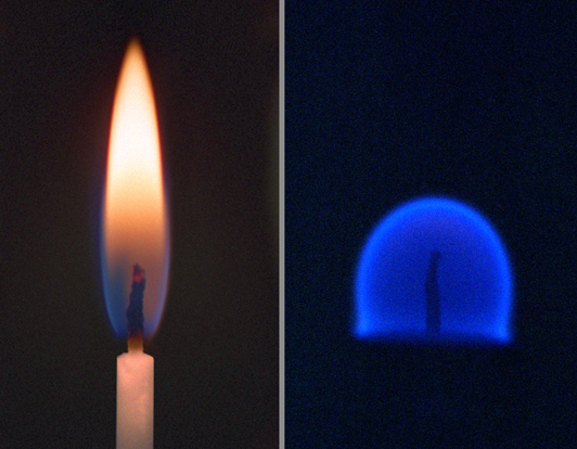 A comparison between fire on Earth (left) and fire in a microgravity environment, such as that found on the ISS (right).