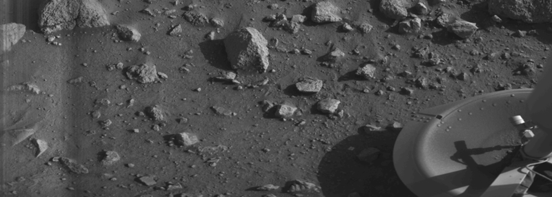 The first image transmitted by the Viking 1 Lander from the surface of Mars, showing the craft's footpad.