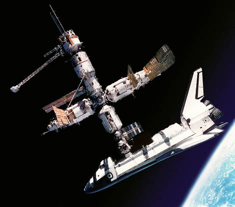 Space Shuttle Atlantis docked to Mir on July 4, 1995 during STS-71
