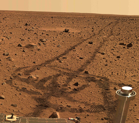Real image from Mars, part of a panorama taken by the Spirit rover in 2004