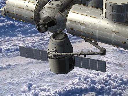 Artist rendering of SpaceX Dragon spacecraft delivering cargo to the International Space Station.