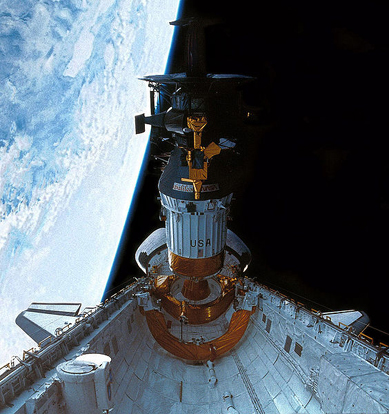 Galileo and Inertial Upper Stage being deployed after being launched by the Space Shuttle Atlantis on the STS-34 mission