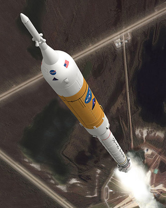 The concept image shows the Ares I crew launch vehicle during ascent.