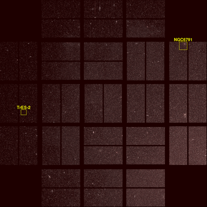 A photo taken by Kepler with two points of interest outlined. Celestial north is to the left.